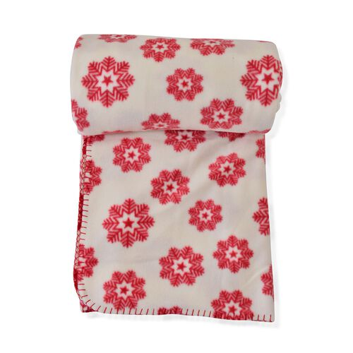 Superfine Printed Fleece Blanket (Size 200x150 Cm) Red and Cream Colour Snowflakes Design