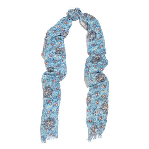 Blue and Multi Colour Floral Printed Scarf (Size 180x70 Cm) with Matching Set of 5 Bangles (Size 8) in Gold Tone