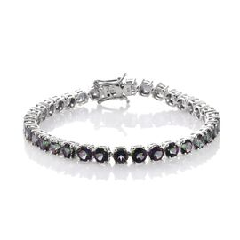 Northern Lights Mystic Topaz (Rnd) Bracelet (Size 7.5) in Platinum Overlay Sterling Silver 21.000 Ct.