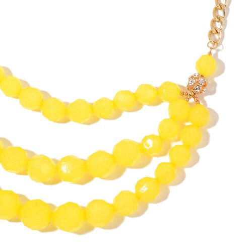 Simulated Yellow Jade and White Austrian Crystal Triple Strand Necklace (Size 21 with 2 inch Extender) in Yellow Gold Tone