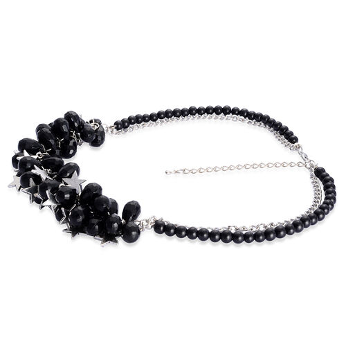 Black Glass and Simulated Stone Necklace (Size 18) in Silver Tone