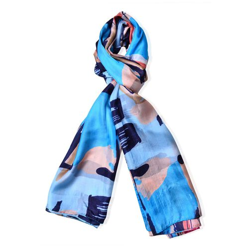 100% Mulberry Silk Blue, Apricot and Black Colour Abstract Pattern Scarf (Size 180X110 Cm)