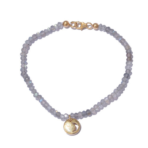 Labradorite (Rnd), Diamond Bracelet (Size 7.5) with Moon Charm in Yellow Gold Overlay Sterling Silver 9.610 Ct.