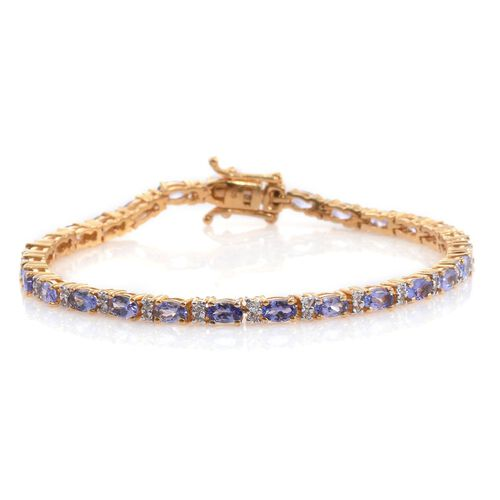 Tanzanite (Ovl), Natural Cambodian Zircon Tennis Bracelet (Size 7.5) in 14K Gold Overlay Sterling Silver 6.500 Ct.