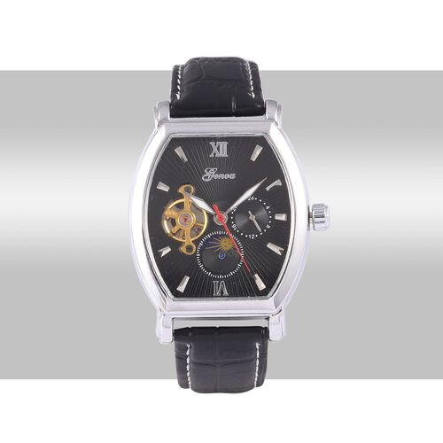 GENOA Automatic Skeleton Black Dial Water Resistant Watch in ION Plated Silver with Stainless Steel Back and Black Strap