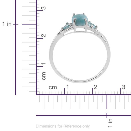 Rare Larimar (Ovl 1.50 Ct), Paraiba Apatite Ring in Sterling Silver 1.750 Ct.