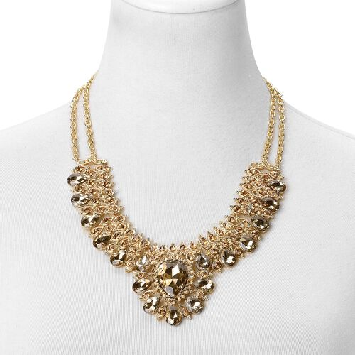 Simulated Champagne Diamond and Champagne Colour Austrian Crystal BIB Necklace (Size 19 with 2 inch Extender) in Yellow Gold Tone