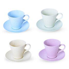 Set of 4 Light Blue, Yellow, Green and Purple Diamond Pattern Ceramic Tea Cups (9X9CM) with Set of 4 Saucer (14 Cm)