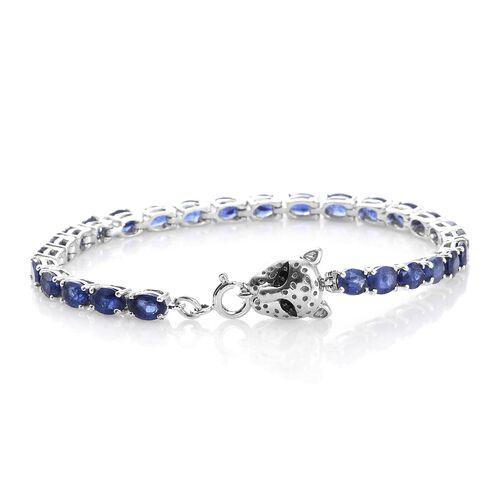 TJC Special Deal- Designer Inspired Premium Masoala Sapphire (Ovl) Leopard Head Bracelet (Size 7.5) in Platinum Overlay Sterling Silver 15.000 Ct.