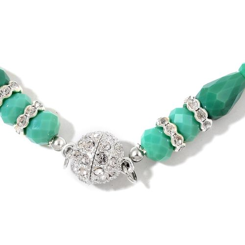 Designer Inspired- Set of 2 - Simulated Emerald and White Austrian Crystal Necklace (Size 17 and 19) in Silver Tone
