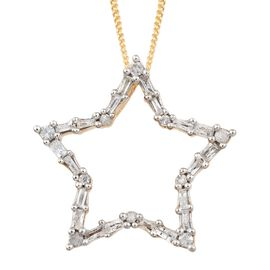 Diamond (Bgt and Rnd) Star Pendant With Chain in 14K Gold Overlay Sterling Silver 0.330 Ct.