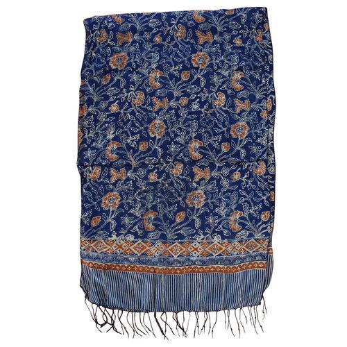 Floral Pattern Blue and Orange Colour Original Silk Scarf (Size 150x45 Cm)