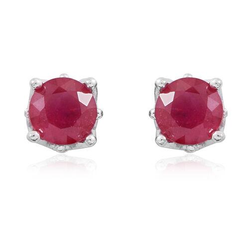 African Ruby (Rnd) Stud Earrings in Rhodium Plated Sterling Silver 2.500 Ct.