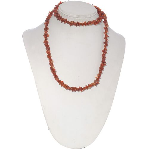 Jewels of India Carnelian, Glass Beads Necklace (Size 36) 248.080 Ct.