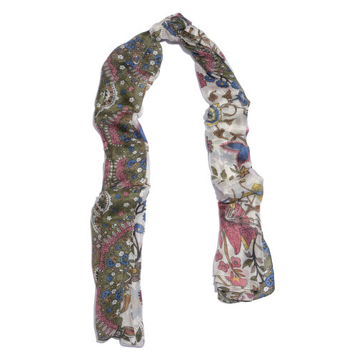 100% Mulberry Silk Olive Green, Pink and Multi Colour Hand Screen Floral and Leaves Printed Scarf (Size 180X100 Cm)