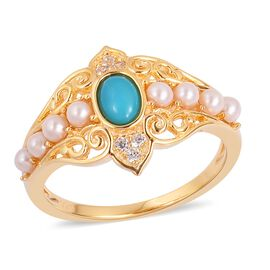 Arizona Sleeping Beauty Turquoise (Ovl), Fresh Water Pearl and Natural White Cambodian Zircon Ring in Yellow Gold Overlay Sterling Silver 1.480 Ct.
