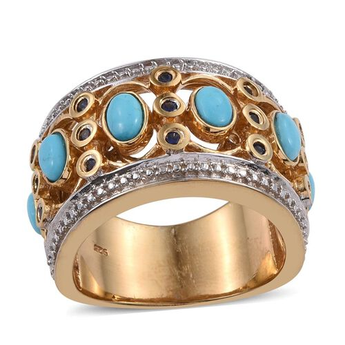 Arizona Sleeping Beauty Turquoise (Ovl), Kanchanaburi Blue Sapphire Ring in 14K Gold Overlay Sterling Silver 1.500 Ct.