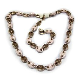 Hong Kong Collection Natural Ceramic Bracelet (Size 8) and Necklace (Size 20) in Silvertone