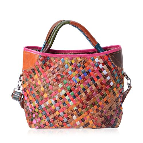 100% Genuine Leather Multi Colour Woven Pattern Tote Bag with Shoulder Strap (Size 34x29x26x13 Cm)