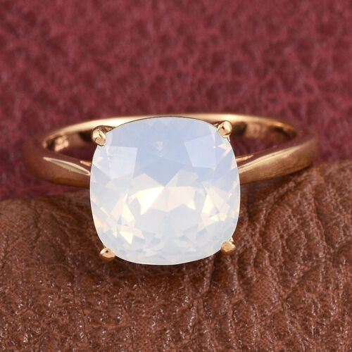 Crystal from Swarovski - Opal Crystal (Cush) Solitaire Ring in 14K Gold Overlay Sterling Silver