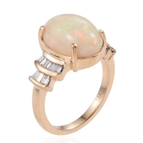 ILIANA 18K Yellow Gold Ethiopian Welo Opal (Ovl 5.00 Ct), Diamond (SI G-H) Ring 5.500 Ct.