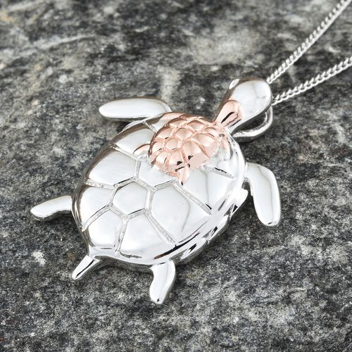 Mother Tortoise with Baby Pendant With Chain in Platinum and Rose Plated Silver