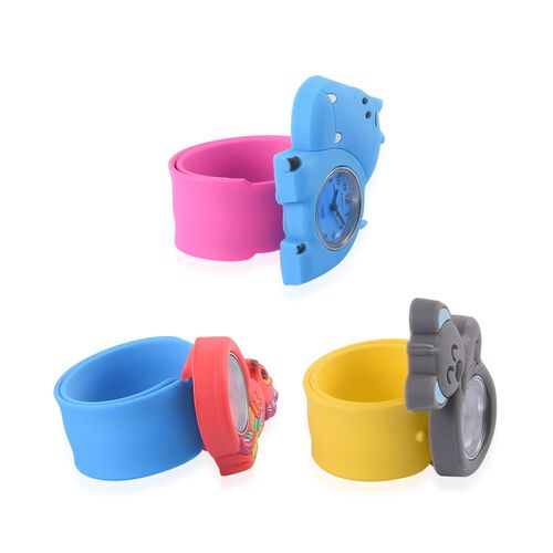 Set of 3 - STRADA Japanese Movement Water Resistant Peacock, Koala and Hippopotamus Watch with Blue, Yellow and Rose Red Silicone Strap