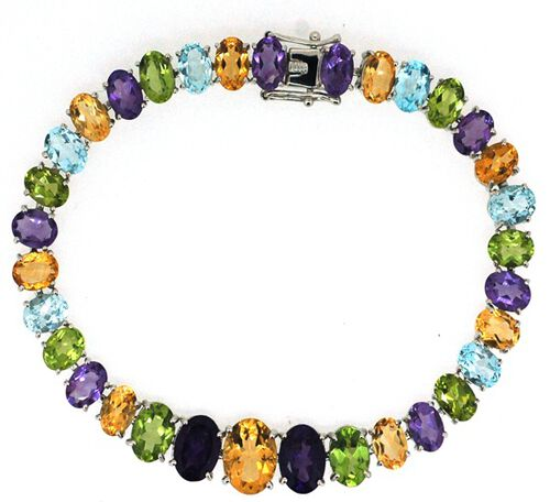 Citrine (Ovl), Hebei Peridot, Amethyst and Sky Blue Topaz Rainbow Bracelet (Size 7) in Rhodium Plated Sterling Silver 33.030 Ct. Silver wt 17.00 Gms.