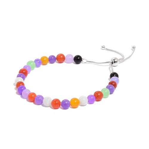 Super Auction - Multi Colour Jade Ball Beads Adjustable Bracelet (Size 6-9.5 Approx) in Rhodium Plated Sterling Silver 50.000 Ct.