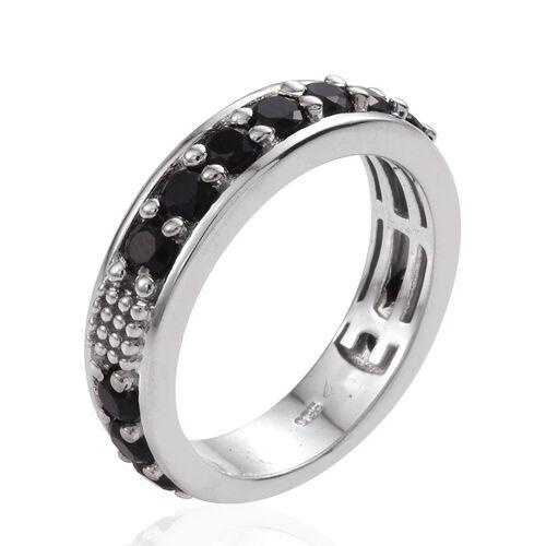 Boi Ploi Black Spinel Half Eternity Stacker Silver Ring in Platinum Overlay 2.000 Ct.