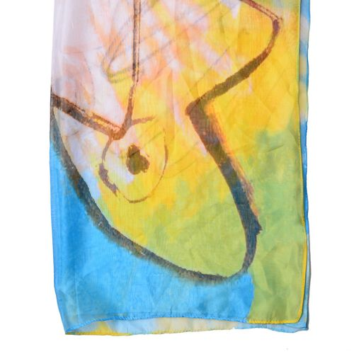 Yellow, Orange and Multi Colour Printed Scarf (Size 190x135 Cm)