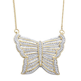 Designer Inspired-Diamond (Rnd) Butterfly Necklace (Size 18) in 14K Gold Overlay Sterling Silver 1.000 Ct. Silver wt 6.51 Gms. Number of Diamonds 191