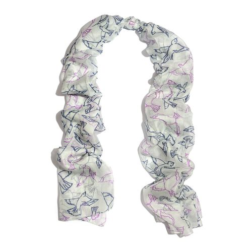 100% Mulberry Silk Pink and Blue Colour Birds Printed White Colour Scarf (Size 180x100 Cm)