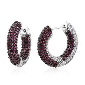 Designer Inspired - Rhodolite Garnet (Rnd), Natural Cambodian Zircon Hoop Earrings in Platinum Overlay Sterling Silver 10.00 Ct. Gemstone Studded 480.Silver Wt 17.81 Gms