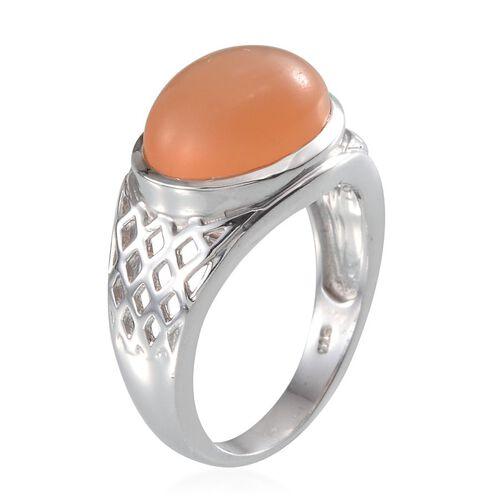 Mitiyagoda Peach Moonstone (Ovl) Solitaire Ring in Platinum Overlay Sterling Silver 7.750 Ct.