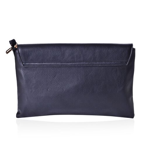 Black Colour Clutch Bag with Adjustable Shoulder Strap (Size 30x20 Cm)