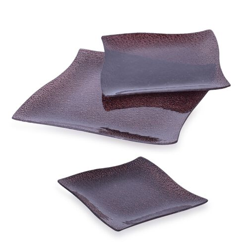 Set of 3 - Chocolate Colour Square Shape Glass Snack Plates (Size 25X25, 20X20 and 15X15 Cm)