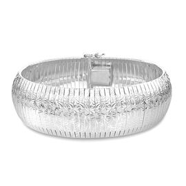 Vicenza Collection-Rhodium Plated Sterling Silver Cleopatra Bracelet (Size 7.5), Silver wt 29.48 Gms.