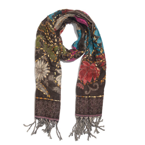 Close Out Deal - Hand Embroidered Adda Work from India - Chocolate, Red and Multi Colour Floral Pattern Scarf with Tassels (Size 200X67 Cm)