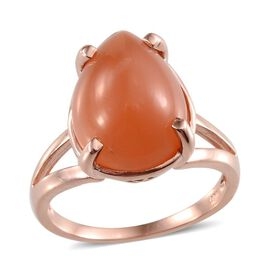 Mitiyagoda Peach Moonstone (Pear) Solitaire Ring in Rose Gold Overlay Sterling Silver 8.000 Ct.