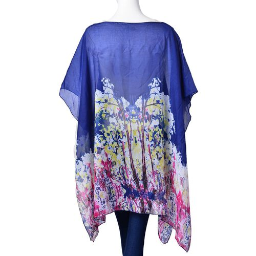 Navy, Pink and Multi Colour Abstract Pattern Poncho (Free Size)