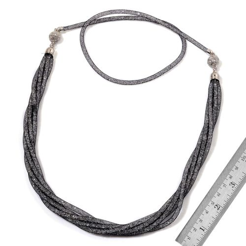 White Austrian Crystal and Simulated Black Stone Necklace (Size 38) in Gold Tone
