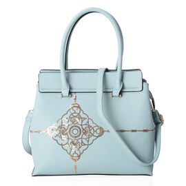 Light Blue and Golden Colour Sequins Tote Bag with External Zipper Pocket and Removable Shoulder Strap (Size 32.5x29x13 Cm)
