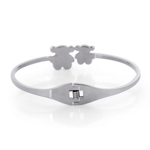 Close Out Deal Black and White Austrian Crystal Teddy Bear Bangle (Size 7.5) in Stainless Steel