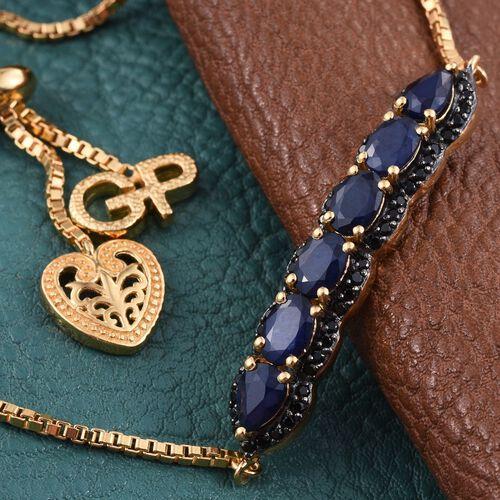 GP Blue Sapphire (Ovl), Boi Ploi Black Spinel and Kanchanaburi Blue Sapphire Adjustable Bracelet (Size 8) in 14K Gold Overlay Sterling Silver 4.000 Ct.