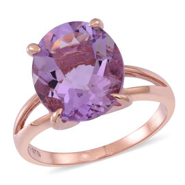 Rose De France Amethyst (Ovl) Solitaire Ring in Rose Gold Overlay Sterling Silver 6.500 Ct.