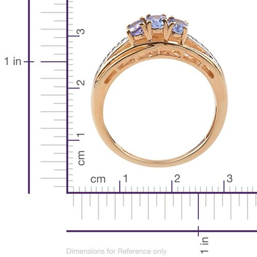 Tanzanite, Diamond 0.50 Carat Ring in 14K Gold Overlay Sterling Silver