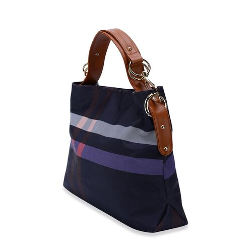 Midnight Blue Checks Pattern Handbag (Size 43x32.5x12 Cm)