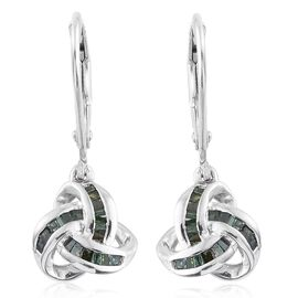 Green Diamond (Bgt) Triple Knot Lever Back Earrings in Platinum Overlay Sterling Silver 0.250 Ct.