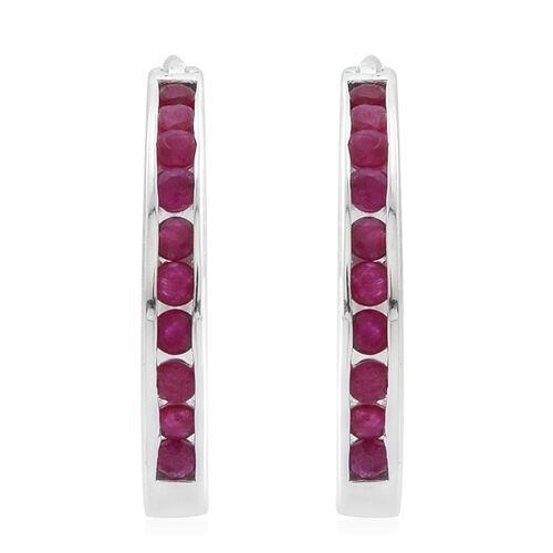 AAA Burmese Ruby (Rnd) Earrings in Rhodium Plated Sterling Silver 1.000 Ct.